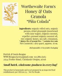 pina colada granola label